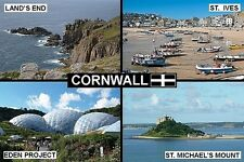 SOUVENIR FRIDGE MAGNET of CORNWALL ENGLAND LAND'S END ST. IVES EDEN PROJECT