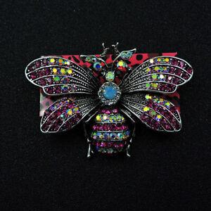 Betsey Johnson New Pink Bling Rhinestone Cute Bee Crystal Charm Brooch Pin Gif