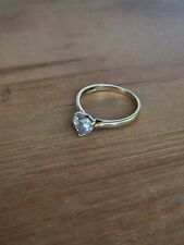Revere 9ct Gold Heart Cut Cubic Zirconia Solitaire Ring - size L Engagement ring