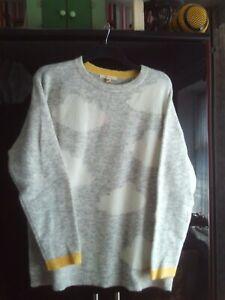 White Stuff Grey/White 'Cloud' Jumper Wool/Alpaca Blend Ladies 18 NEW/Unworn