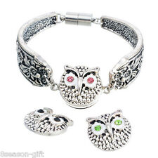 3PCs Mixed Alloy Button Set Owls Rhinestone Snap Button jewelry 19.5x18.5mm