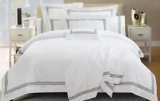 1000TC White Hotel Black Cotton Quilt Cover Set QUEEN SUPER KING Doona Duvet Set