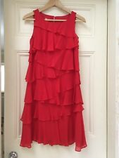 LADIES RED 100% SILK CHRISTMAS PARTY DRESS SIZE 8 UK BY MONSOON
