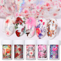 Flowers Nail Art Foils Wraps Colorful Holographics Tips Decals Transfer Stickers