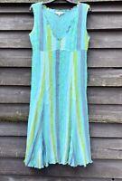 EAST Stunning Turquoise/Blue/Green Crinkle Crepe Lined Shift Dress UK14 EU42