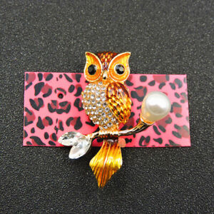 Betsey Johnson Gold Enamel Crystal Cute Pearl Owl Charm Brooch Pin Gift