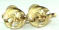 VTG 1950'S HICKOK WIDE MOUTH BASS FISH CUFFLINKS