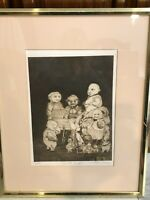 "Charles Bragg ""We're All Angels"" Etching Print, Signed, Framed, 8 3/4"" x 13"""