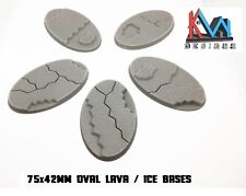 3D Printed - 75x42mm Cavalry Scenic Lava / Ice / Earth Style Bases - Set of 5