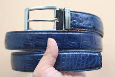 Genuine Alligator, Crocodile LEATHER Skin Men's Belt Dark Blue