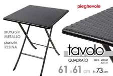 TAVOLO TAVOLINO 61*61*H73 PIEGHEVOLE QUADRATO STRUTTURA METAL PIANO RESIN 692345