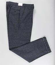 Brioni Charcoal Gray Blue Plaid Single Pleat Wool Dress Pants Trousers 50 IT 34
