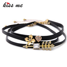 KISS ME Unique 3pcs/Set Crystal Heart Flower Arrow Choker Necklace xl02107