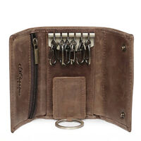 Mens Brown PU Leather Coin Wallet Purse 6Keyrings Zipper Car Key Case Holder