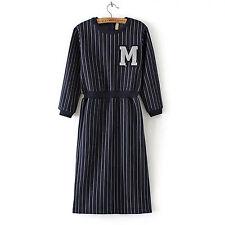 Women Lady Girl Striped M letter long sleeves Navy blue Tunic Dress AUS 8