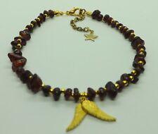 Wings Charm Anklet Ankle Bracelet Garnet Gemstone Chips Gold Tones Angel