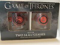 Game of Thrones Set of Two 14.4oz Glasses w/Platinum Rims