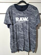 G-Star RAW Wild Dripping Logo Men's T Shirt Gray Size 2XL XXL