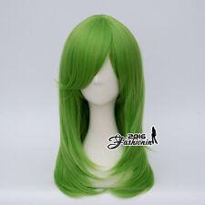 Anime 55CM Lolita Long Wavy Green Hair Basic Party Cosplay Harajuku Wig+Wig Cap