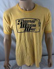 Vtg Shawnee Mission West High School T-shirt Yellow Ringer Xl Acrylic Cotton