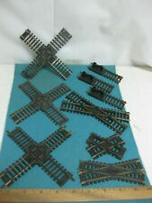 Set HO Scale Railroad Track Crossovers and Bumpers, 9 piece set