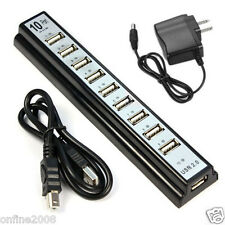 10 Port Hi-Speed USB 2.0 Powered Hub for PC Laptop Computer With Power Adapter