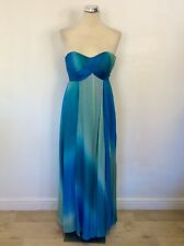 MONSOON BLUE,TURQUOISE & LIGHT GREEN SILK STRAPLESS MAXI DRESS SIZE 8