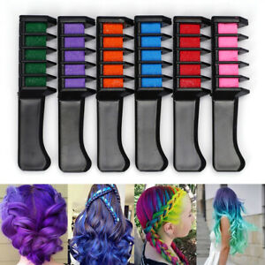 6PCS Temporary Hair Chalk Hair Color Comb Dye Salon Kits Party Christmas Cosplay