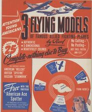 1944 3 Flying Models of Famous Allied Planes by Reed