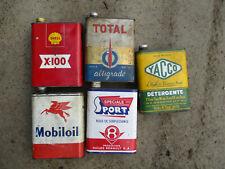5 bidons de 2L Yacco Total Shell Renault Mobil bidon d'huile ancien oil can tin