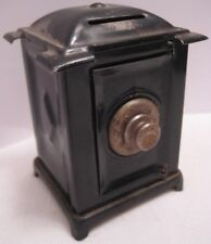 Old Miniature Safe Still Bank - Heavy Tin w/ Cast Iron Tumbler - Dollhouse Prop