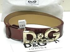 D&G Jr New Girls Patent Leather Belt w Logo Buckle & Gift Bag Lrg Rtl $144 R236