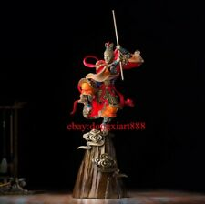 68 CM Chinese Art Deco Pure Brass Painted Monkey king Sun Wukong Hero sculpture