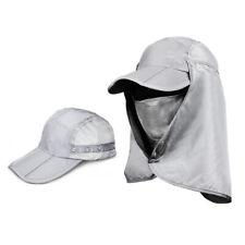 360° Protection Flap Hats Folding Sun Cap UPF 50+ Flap Cap Unisex Light Gray NEW