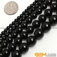 "Natural Black Tourmaline Gemstone Round Beads For Jewelry Making 15""6mm 8mm 10mm"