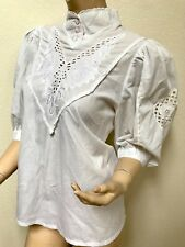 36 White 3/4 Sleeve European Lace Button Detail Floral Pattern Crest High Collar