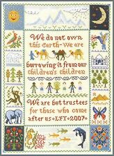 Earth Saying Sampler - complete cross stitch kit on 14 aida with COLOUR chart