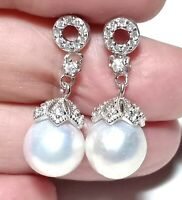 Marvelous Edison Natural White Round 9.5 - 10mm Cultured Pearl Dangle Earrings