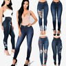 Women's Skinny Ripped Pants High Waist Stretch Denim Jeans Slim Pencil Trousers