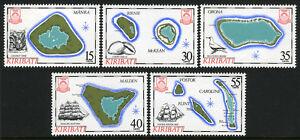 Kiribati 475-479, MNH. Islands of kiribati. Maps, Crab, Shells, Bird, Ships,1986