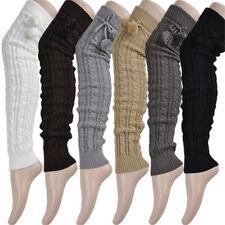 Women Knitted Leg Warmer Knee Thigh High Winter Long Boots Socks With Fur Ball