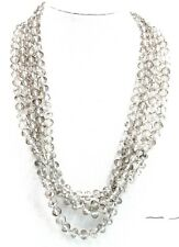 """Handmade Smoked Crystal Bead Necklace Long 84"""" ~ New Without Tag"""