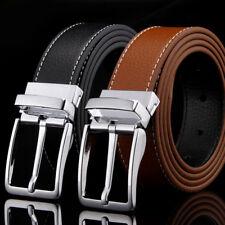 Men's Genuine Leather Belt Formal Adjustable Belt Pin Buckle 2 Color 110-125cm