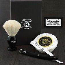 White Badger Hair Shaving Brush,Straight Cut Throat Razor,Shaving Soap Blades