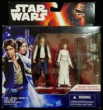 """STAR WARS EPISODE IV A NEW HOPE HAN SOLO & PRINCESS LEIA NEW 3.75"""" ACTION FIGURE"""