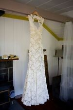 Lace Open Back Wedding Dress Vintage Bridal Gown White Ivory Size 6 8 10 12 14++