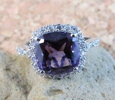 Amethyst & White Sapphire Gemstone 925 Sterling Silver Halo Ring Size 7 #523