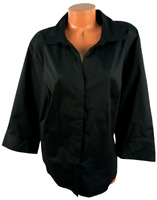 Riders by lee black 3/4 sleeves spandex stretch plus buttoned down top 3X