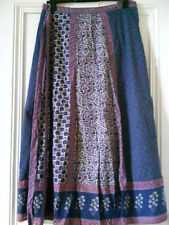 Monsoon Boho Hippy Blue/White /Purple Wrap Maxi Skirt  size 14