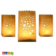 10 Lanterne Luminose CUORI Porta Tea Light Matrimonio CUORE Sacchetti Carta